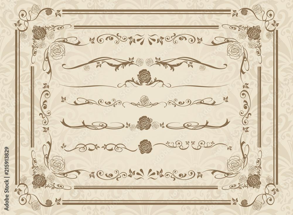 Fototapeta decorative gold frame set Vector