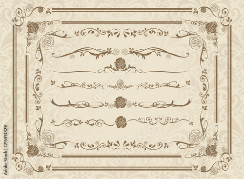 Fototapeta decorative gold frame set Vector  obraz