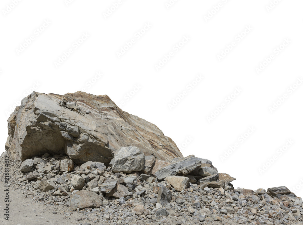 Fototapeta Rock cliff in nature isolated on white background.