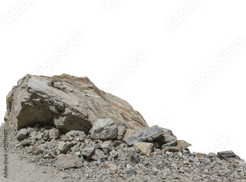 Fényképezés  Rock cliff in nature isolated on white background.