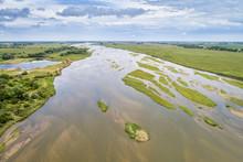 Platte River In Nebraska - Aerial View