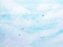 Watercolor Landscape Birds Flying In The Blue Sky With Cloud.for Background