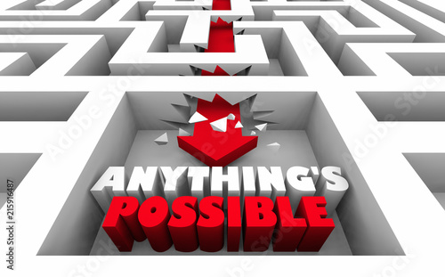 Valokuva  Anythings Possible Believe Hope Faith Maze 3d Illustration