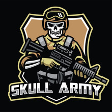 Skull Soldier Mascot Hold The Assault Riffle