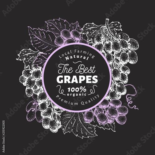 Grape berry design template. Hand drawn vector fruit illustration on chalk board. Engraved style vintage botanical background. Fototapete