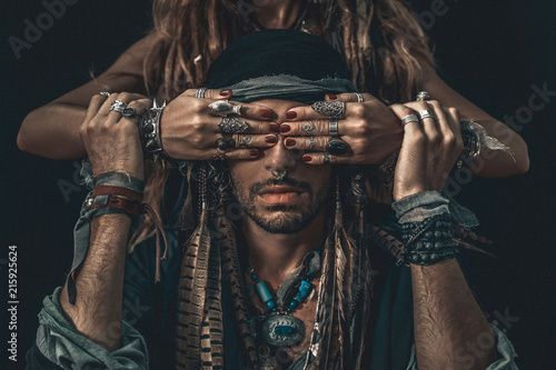 stylish fashionable young handsome man and woman covering his eyes with hands Wallpaper Mural
