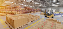Warehouse Goods Stock Background 3d Rendering