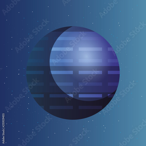 Plakat  uranus planet icon over blue space background, colorful design