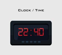 Digital Clock Icon Over White ...
