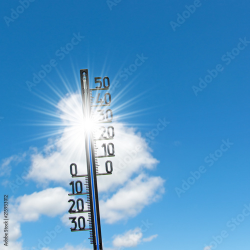 Poster Fleur Thermometer, 30 Grad, Himmel und Sonne