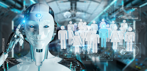 White cyborg controlling group of people 3D rendering Wallpaper Mural