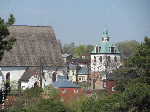 Keuken foto achterwand Buenos Aires Summer view of the church in the old town and the roof, Porvoo, Finland