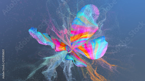 Abstract multi colored background with particles paint at butterfly shape.