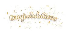 Congratulations Gold Celebration Background With Confetti.