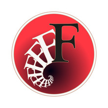Letter F Circular Label With Fractal Spiral Tail Pattern In Red