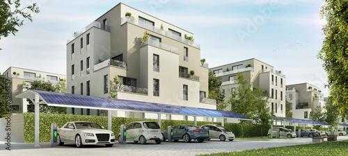 Straße mit modernen Wohngebäuden Canvas Print