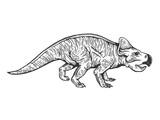 Fototapeta Dinusie - Protoceratops dinosaur engraving vector
