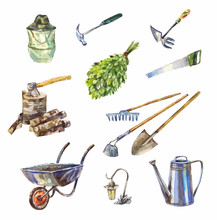 Garden Or Garage Instruments Or Tools. Watercolor Set Of Wheelbarrow, Watering Can, Rake, Shovel And Etc