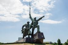 "Russia, The Peninsula Of Crimea, The City Of Sevastopol. 06/10/2018: Monument ""Soldier And Sailor"" In Sevastopol, On The Black Sea Coast"