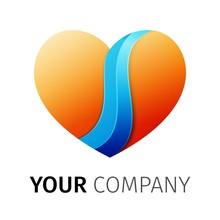 Orange And Blue Heart Logo Design Ribbon