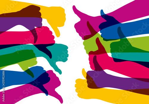 Obraz na plátně main - pouce - opinion - like - pour ou contre - concept - différence - oppositi