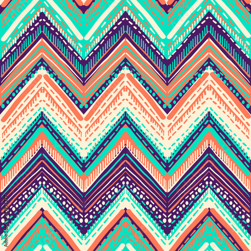 Ingelijste posters Boho Stijl Abstract Ikat and boho style handcraft fabric pattern. Traditional Ethnic design for clothing and textile background, carpet or wallpaper