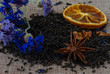 Mixture of black tea with anise star, dry berries,fruits and blue cornflower. Dried Herbs tea