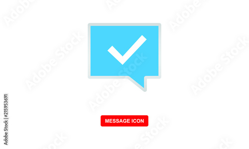 message icon with checkmark symbol vector icon - Buy this stock