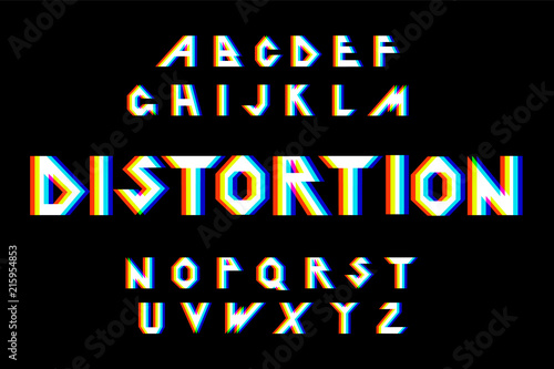 Fotografie, Obraz  Vector distorted glitch font