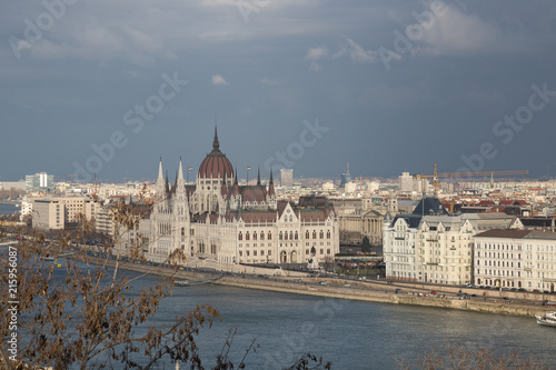 Fotobehang Boedapest Budapest. Dunaj. Hungary, a city landscape, a look with top