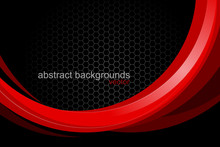 Abstract Red Curved Shapes Sce...