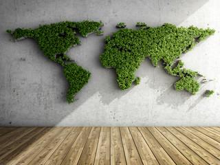 Room with vertical garden in form of world map