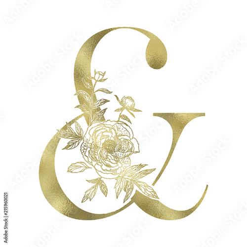 Decorative floral gold ampersand sign. Wallpaper Mural
