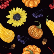 Autumn Vector Seamless Pattern Of Leaves And Berries On Black Background. Detailed Hand Drawn Pattern. Design Of Textiles, Paper, Clothing, Case Phone Cover,gifts, For Fashion, Fabric, Cooking Book.