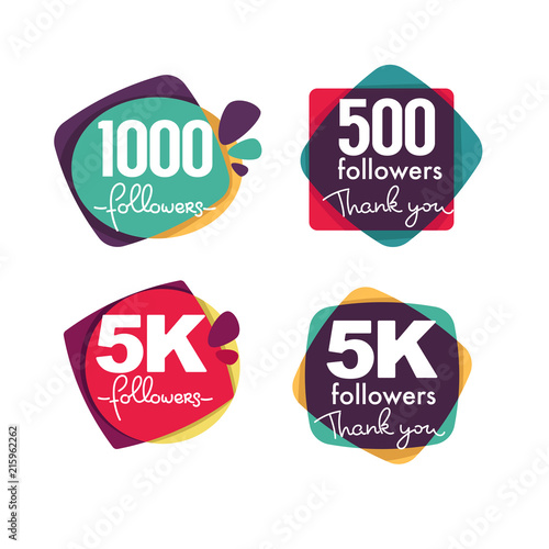 Fotografiet  1000 followers and members , thank you frames, bubbles and banners, with letteri