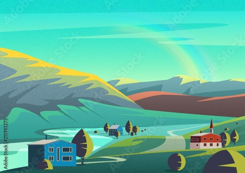 In de dag Groene koraal Colorful cartoon illustration landscape with few houses town placed on lands of remote valley with mountains and blue sky with rainbow with film camera noise effect.