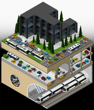 Vector Isometric Illustration Of An Element Of Urban Infrastructure Consisting Of A Transport Subway Hub, Tram And Bus Lines, Multi Storey Car Park And Underground Car Tunnel.