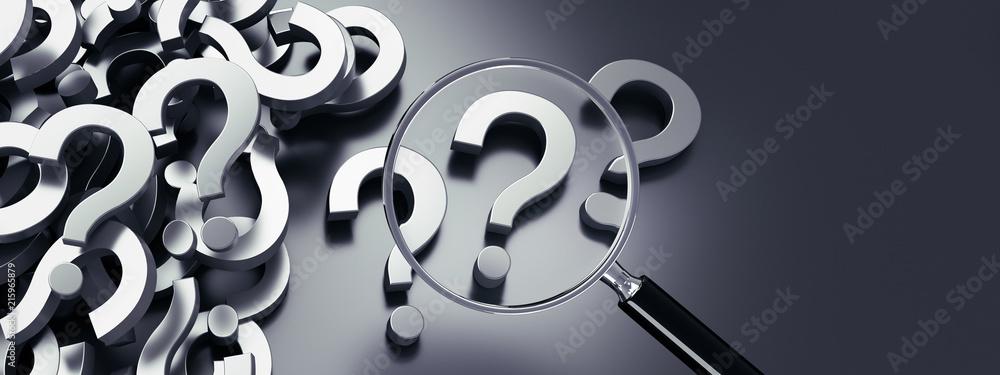 Fototapeta Lupe mit Berg von Fragezeichen - Suche - Suchfunktion