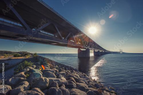 Photo  oresunds bridge at sunset
