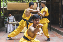 Vietnam, Hanoi, Men Exercising Kung Fu