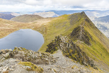 United Kingdom, England, Cumbria, Lake District, View Of Striding Edge And Red Tarn Lake From Helvellyn Peak