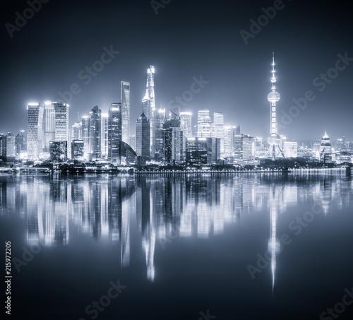 Fototapety, obrazy: shanghai skyline night view and reflection
