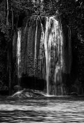 Panel Szklany Wodospad black and white waterfall nature season spring