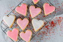 Small Heart Cookies On Cooling...