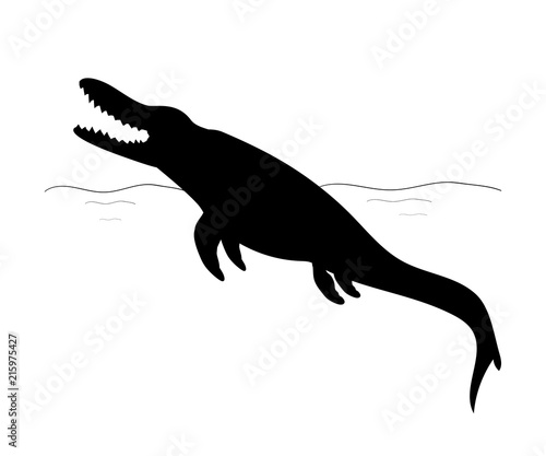Mosasaurus silhouette dinosaur jurassic prehistoric animal Canvas Print
