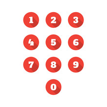 Set Of 0-9 Number Icons. Vecto...