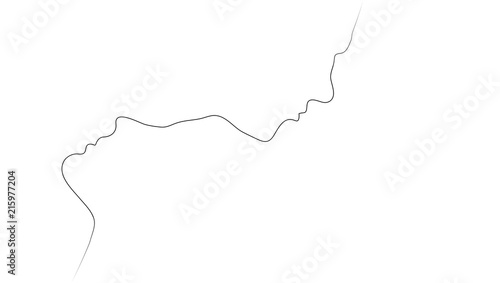 Obraz Two Abstract One Line Silhouettes Of People - fototapety do salonu