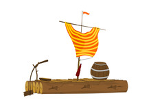Cartoon Raft With A Barrel And...
