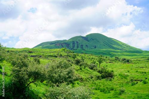 Deurstickers Blauwe hemel Mt.Aso