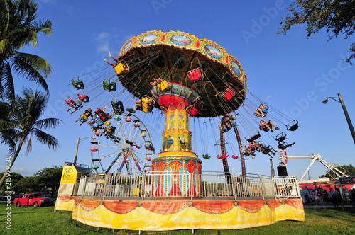 Aluminium Prints Amusement Park Just a Swinging / Carnival ride in south Florida